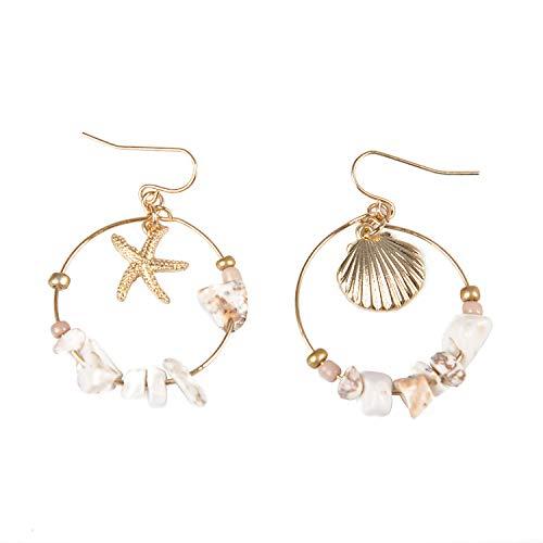 Pendientes colgantes de aleación de oro con diseño de concha de mar para mujer, redondos, con cuentas de piedra, para verano