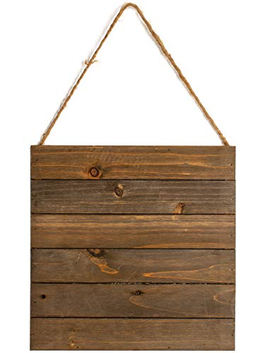 Creative Hobbies 11.8x11.8 Inch Unfinished Wood Hanging Plaque-DIY Wood Pallet Sign,Wood Slice,Hanging Wooden Sign,Decorative Plaque,Notch Banner,Rustic Sign for Shop Home Decor,Reclaimed Wood Pallet