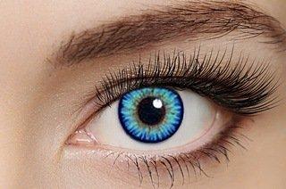 2 Kristallblaue hellblaue Kontaktlinsen + GRATIS Behälter (L&R) für 2 farbige Kontaktlinsen ohne Stärke original von Eye-Effect - Halloween