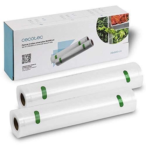 Cecotec Pack de 2 Rollos para Envasadora al vacío Grandes 28 x 600 cm. Tamaño universal, Superficie gofrada, 28cm de ancho y 6 metros de largo, BPA Free