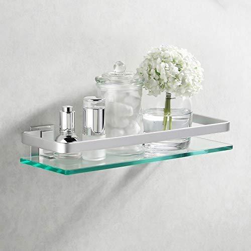 Amazon Brand - Umi Estanteria Baño Aluminio Estante de Vidrio 8mm Estantería Ducha Estante Baño Pared Baldas Organizador Pulida, A4126A