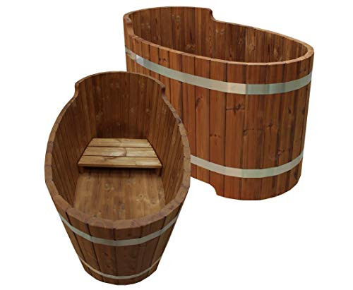bambus-discount.com Holz Badewanne mit Sitzbank, Set2 - für Holzbadefass Badefässer Badefass für draussen Badetonne Hot Tube Badebottich Holzbadewanne
