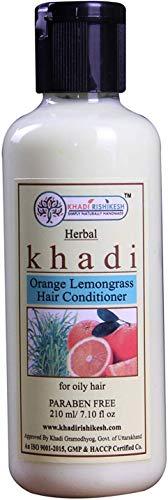 Glamorous Hub Khadi Rishikesh Acondicionador para el cabello a base de hierbas, naranja, hierba de limón, paquete de 210 ml