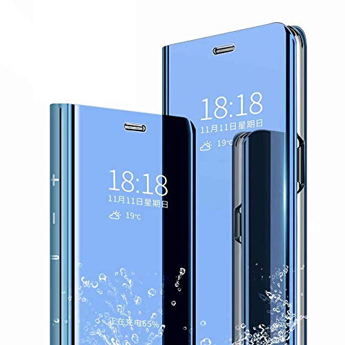 Homi2019 Case Compatible with Oppo Realme 5 Pro Clear View Standing Cover,Spiegel Handyhülle Schutzhülle Flip Cover Schutz Tasche (Gratis Geschenk Bildschirmschutz Handy-Folie)