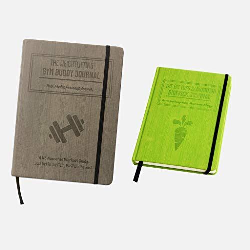 Habit Nest 1x Weightlifting Gym Buddy Journal Bundle with 1x Nutrition Sidekick Journal.