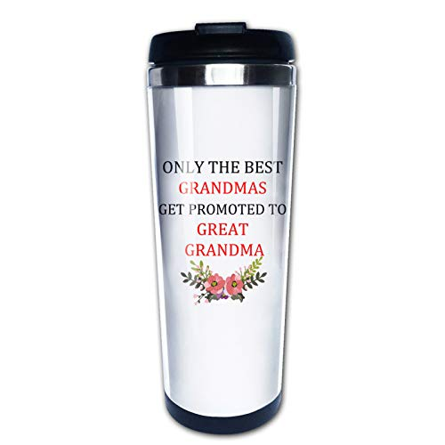 Only The Best Grandmas Get Promoted To Great Grandma, New Mom Pregnancy Announcement Travel Mug Tumbler With Lids Thermos Coffee Cup Vacuum Insulated Flask Stainless Steel Hydro Water Bottle 15 Oz