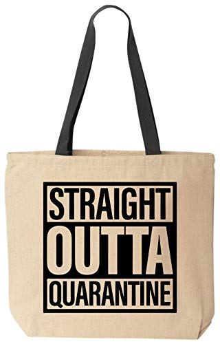 BeeGeeTees Straight Outta Quarantine Funny Tote Bag Heavy Duty Canvas Carry All (14'x14'x3' Black Handle)