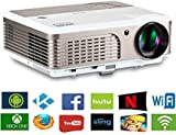 2019 LCD LED Outdoor HD Projector Multimedia Digital Movies Home Theater Projector 3900 Lumen, WXGA, 200' Dispaly, 50000hrs Lamp-life, with HDMI RCA Audio USB VGA for PC Wii TV Box Laptop DVD PS4 PS3