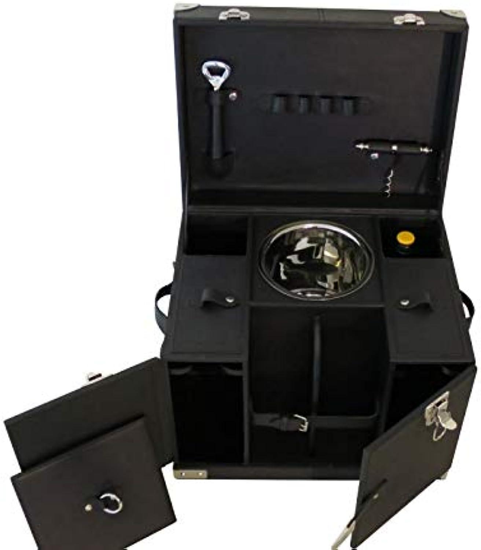 COFUR Mini Bar Picknickkoffer Büffel Leder schwarz