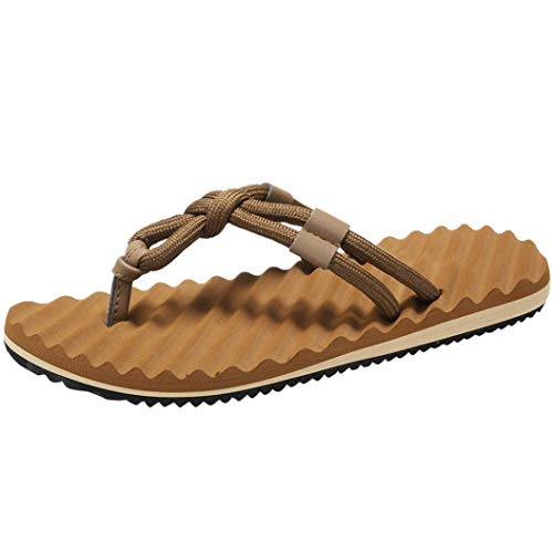 FORUU Men Summer Beach Sandals Flat Shoes Sandal Hombre Sewing Shoes Flip Flops Shoes Yellow
