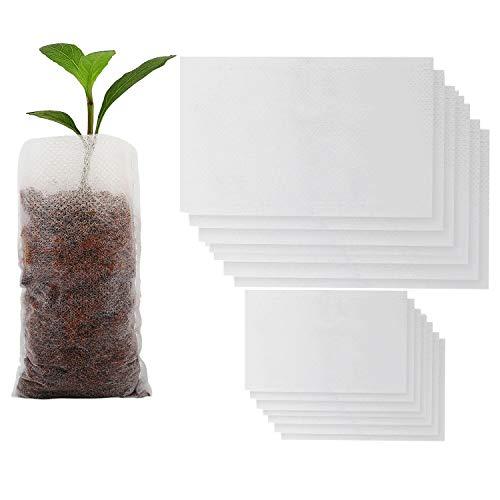 Housolution Sacs de Semis, [400PCS] Sacs Biodégradables Non-Tissé de Pépinière pour Plante Cultiver de Maison Jardin, Écologique, Blanc