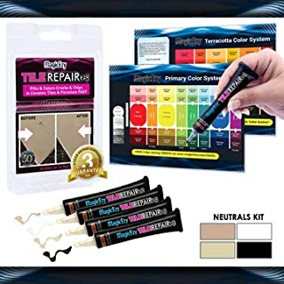 MagicEzy Tile Repairezy Tile Repair Kit (Neutrals) : Porcelain Repair Kit for Cracks and Chips in Tiles, Plates, Sinks, Tubs - Beige, White, Chocolate, Black
