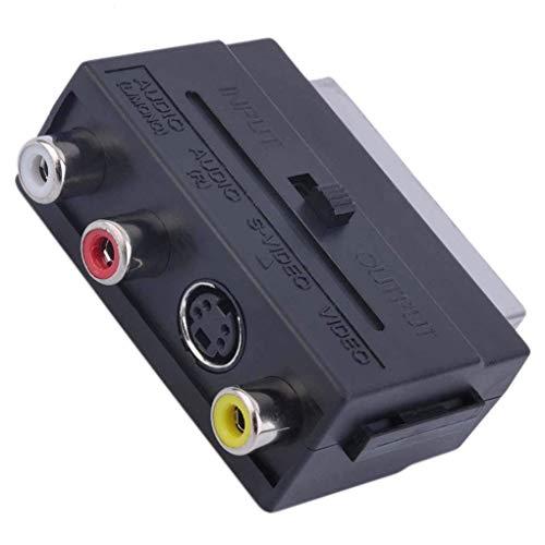 U-K Adaptador convertidor SCART de 21 Pines a 3RCA Adaptador de euroconector RGB a Compuesto RCA S-Video AV TV Adaptador de Audio Elegante Conveniente
