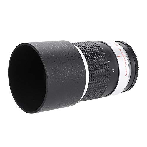 AYNEFY- Teleobiettivo Nero, 300mm f6.3 APS-C Obiettivo della Fotocamera del telescopio telescopico per Attacco Fotocamera Sony-E M4 / 3(Sony-E)