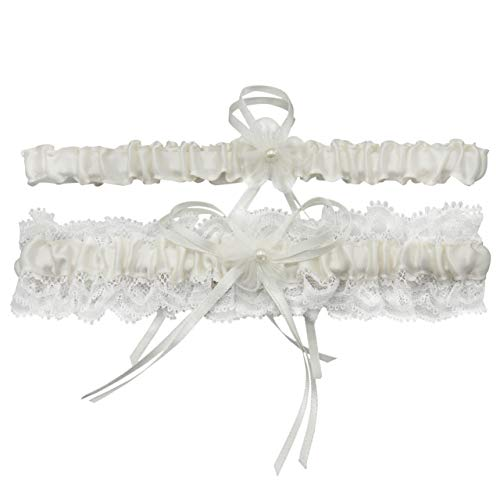 Ayliss Strumpfband für die Braut, Stretch, für Abschlussbälle, Brautbein, Strumpfband-Set - Beige - Einheitsgröße