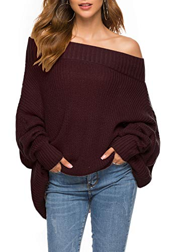 GOLDSTITCH Women's Off Shoulder Batwing Sleeve Loose Oversized Pullover Sweater Knit Jumper Wine Red