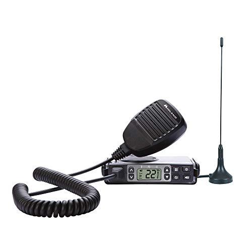 Midland 5 Watt GMRS MicroMobile Two-Way Radio - Long Range Walkie Talkie, & 142 Privacy Codes, & NOAA Weather Scan + Alert (Black)