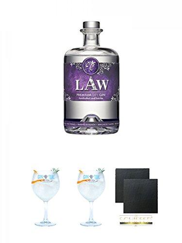 LAW Gin Ibiza 0,7 Liter + Gin Sul Copo Ballon Glas 1 Stück + Gin Sul Copo Ballon Glas 1 Stück + Schiefer Glasuntersetzer eckig ca. 9,5 cm Ø 2 Stück