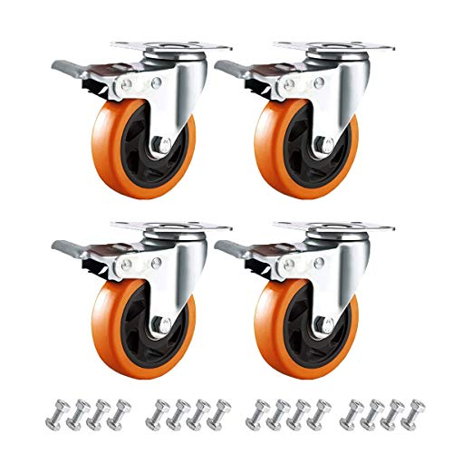 Enyke 4 Inch Swivel Rubber Casters Wheels Heavy Duty Casters with Brake 2000LBS Dual Safety Locking for Shopping Cart, Workbench Casters Set of 4