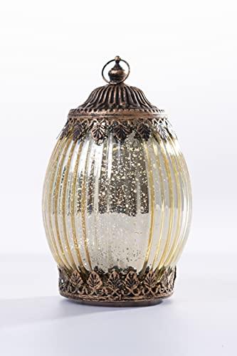 Home&Decorations Lanterne LED Décorative Dorée en Verre – Éclairage Vintage Forme Ovale pour Mariage, Anniversaire, Fête, Dîner
