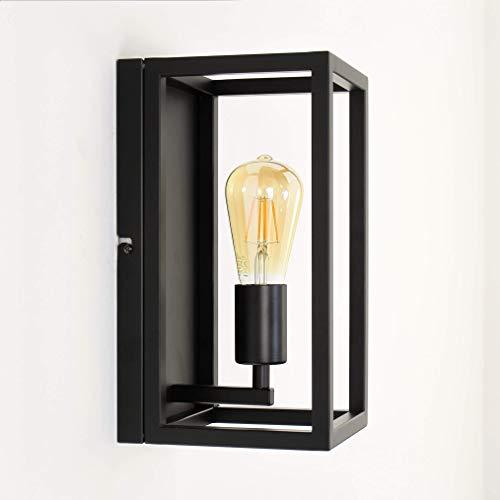 Raffinierte Wandleuchte in Schwarz Bauhaus 1x E27 bis zu 60 Watt 230V aus Metall, für Küche Esszimmer Lampen Leuchte innen