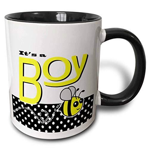 Novelty Ceramic Mug 11 oz Funny Coffee Mug Unique Gift Its A Boy Cute Yellow Bumble Bee Black and White Polka Dots Two Tone Black Mug Multicolor Coffee Cup Handle for Men Women