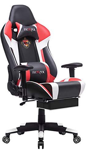 Ficmax - Silla para videojuegos ergonómica con masaje y soporte lumbar, ideal para deportes electrónicos en ordenador, con reposacabezas y reposapiés