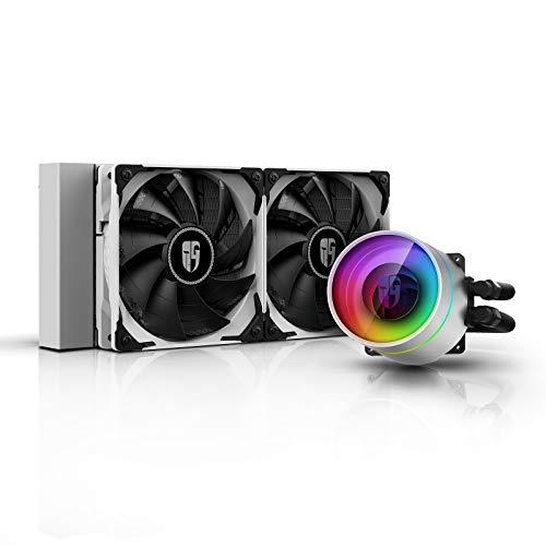 DEEP COOL Castle 240 Ex Bianco, Raffreddamento a Liquido RGB Indirizzabile per CPU, con Tecnologia Anti-Perdite, 3 Anni di Garanzia