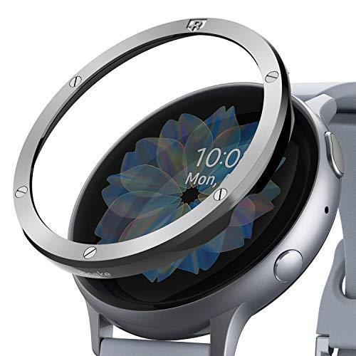 Ringke Bezel Styling Kompatibel mit Galaxy Watch Active 2 Hülle 44mm [Glänzend Silber] Lünette Ring Kratzfest GW-A2-44-40