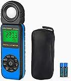 Luxmètre Numérique AP-881D Bleu Photomètre Luxmetre Professionnel Mesure de la Température Ambiante avec Plage Jusqu'à 400,000 lux, Tête Rotative à 270 Degrés, Maintien des Données, Rétro-éclairage