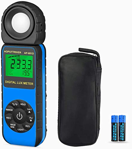AOPUTTRIVER 881D Blu Luxmetro Digitale Professionale, Misuratore di Luce 0.1-400,000 Lux, 1-40,000 FC,Misurare Temperatura,LCD Retroilluminato,Batteria Inclusa Retroilluminazione