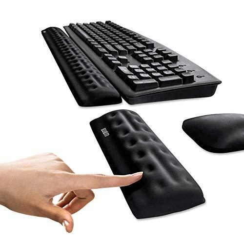 BUBM toetsenbord muis polssteun instellen ondersteuning, geheugenschuim rust, ontspan je handen en pols. zwart