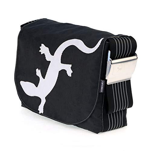 Segeltuchtasche CANVASCO Urban L/Tasche schwarz/Gurt schwarz-grau/Motiv Gecko weiß