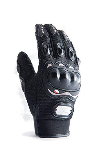 Motorradhandschuhe mit Protektoren in schwarz und mit Touchscreen für Herren und Damen, Motocross Handschuhe auch für Fahrrad, MTB, Roller, Sport, Mofa, Airsoft, Outdoor & Camping (L)