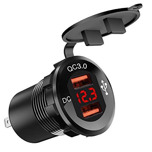 Dibiao 12-24 V motorfiets USB-lader Dual Qc3.0-poort voeding voltmeter digitaal