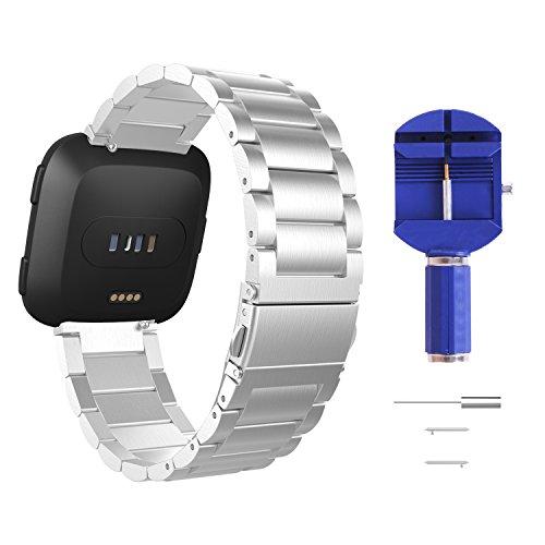 MoKo Cinturino per Fitbit Versa/Versa 2/Versa Lite Edition/Versa Special Edition Watch, Braccialetto Ricambio in Acciaio Inossidabile, Adatto per Polso 5.51'-8.28', Argento