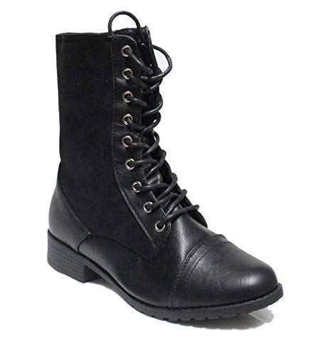 Forever Link Womens Mango Round Toe Military Lace Up Knit Ankle Cuff Low Heel Combat Boots (Premier Black, 8)