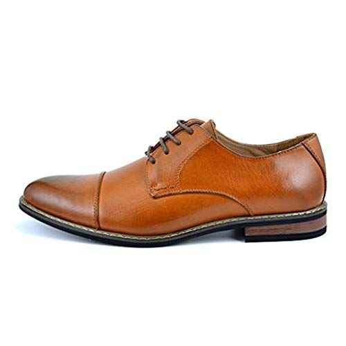 Bruno HOMME MODA ITALY PRINCE Men's Classic Modern Oxford Wingtip Lace Dress Shoes,PRINCE-6-BROWN,15 D(M) US