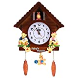 AUNMAS Orologio da Parete alla Moda Artigianato in Legno Vintage Orologio a cucù Casa in Legno per Camera da Letto Soggiorno Decorazione Ufficio Scuola