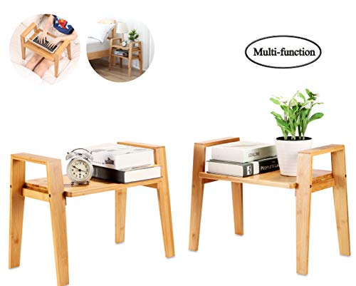 bamfitwell Bamboo End Table,Living Room Nightstand,Stackable Side Table, Bedside Tables for Bedroom/Nursery Room/Laundry Room/Study Room, Set of 2