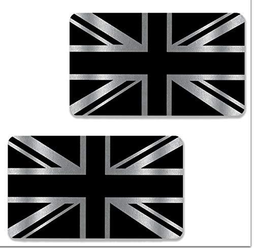 Biomar Labs® 2 Stück Silber Vinyl Grossbritannien Great Britain England UK Flagge Aufkleber Autoaufkleber Stickers Auto Moto Motorrad Fahrrad Helm Fenster Tuning B 256