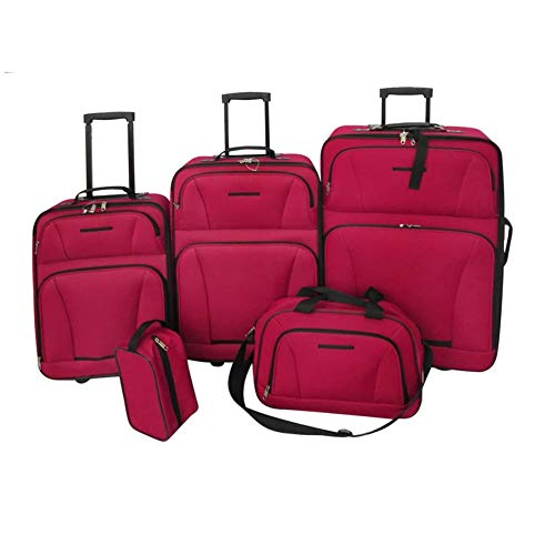 Five Piece Travel Luggage Set Red by BIGTO