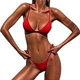 heekpek Donna Due Pezzi Mare Push up Bikini Brasiliana Perizoma Gamba Alta Costumi Bikini Sexy Vita Alta Donna Push Up Costumi da Bagno (Rot, XL)