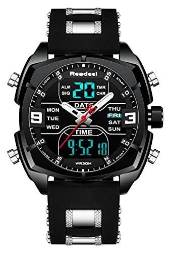 Youwen - Reloj deportivo multifunción para hombre, reloj militar, doble hora, LED, digital, cuarzo, resistente al agua, cronógrafo, Negro, Cronógrafo, digital, movimiento de cuarzo