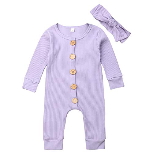 Kayotuas Newborn Baby Boys Girls Jumpsuit Button Solid Romper Ribbed Bodysuit Sleeper Infant Outfits Clothes (Purple with Headband, 0-6 Months)