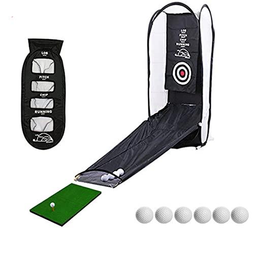 Golfnätfällbar bärbar, med 6 bollar + kort gräs Strike Pad Integrated Close Cut Automatic Ball Retur, Inomhus och Outdoor Swing Practice Net black