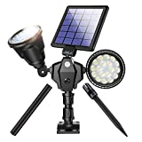 Outdoor Solar Spotlights, Newest 36 LED Double Head Security Light 5200 mAh Batteries Waterproof Wall Lamps with Motion Sensor for Garden Landscape Patio Porch Deck Garage (Cool White, 1 Pack)