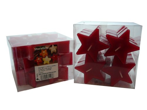 12er - Box Stern - Duftteelichter im Acryl-Cup, Duftlichte, Weihnachtszauber, Sternlichte, Weihnachtsduft, Duft Kerzen