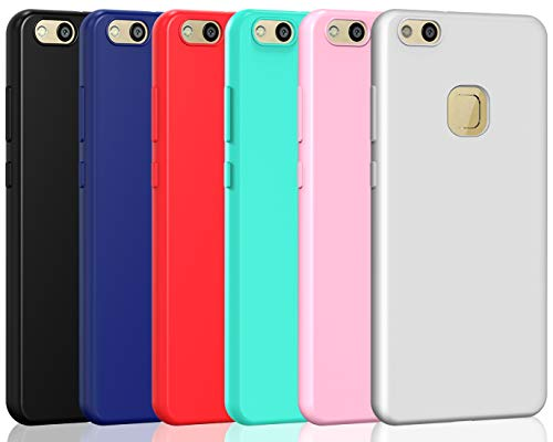 ivoler 6 x Funda para Huawei P10 Lite, Ultra Fina Carcasa Silicona TPU de Alta Resistencia y Flexibilidad (Negro, Azul Oscuro, Rojo,Verde, Rosa, Blanco)