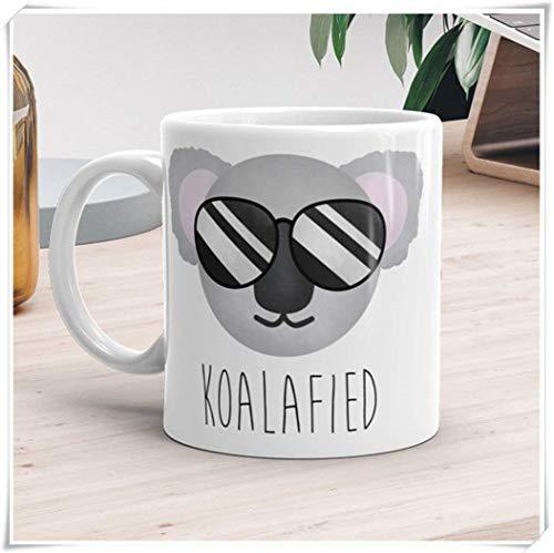 N\A aza Divertida - Koalafied - Qualified Koala Bear Pun Cute Animal Gafas de Sol Fun Animals Coffee Lover Mug Punny Tazas, 11 oz Taza de café de cerámica/Taza de té, Alto Brillo